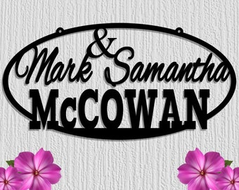 Personalized Custom Name Metal Sign Plaque  With Last Name and First Names - Wedding - Ampersand