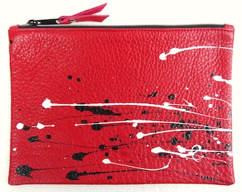 Red Leather with Black and White Splash large zipped Purse