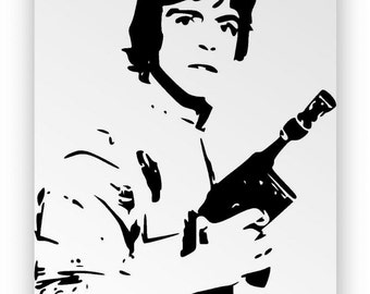 "Star Wars ' Luke Skywalker "". Mirror hand engraved, sandblasted and coloured spray."