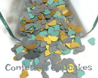Baby Shower Confetti/grey teal and gold confetti/baby feet shower decorations/gold heart confetti/party decorations/birth announcements/gold