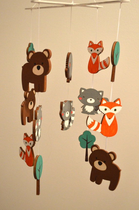 Woodland animals baby infant wooden nursery by myboocreations for Woodland animals nursery mobile