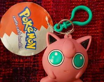 Vintage 90s Pokemon's Jigglypuff Coin Purse Keychain. Vintage 90s Pokemon Jigglypuff Never Been Used Coin Purse Keychain with Original Tag