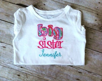 Big Sister Shirt - Little sister - Personalized Shirt - Sibling  Shirts - Pregnancy Announcement - Baby Announcement Shirt
