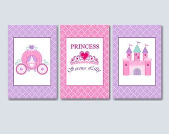 Merveilleux Princess Nursery Wall Art,Pink Purple Princess Wall Art,Princess Wall Decor, Princess
