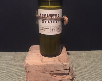 Wine bottle candle- Frontier Red wine- Customize your fragrance!