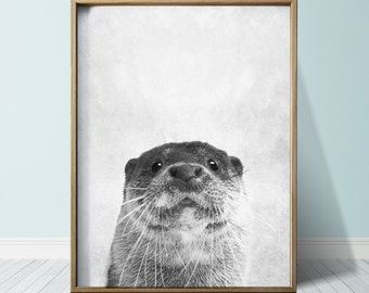 Otter Print Wall Art Prints OtterArt Beaver Cute Animal Nursery Print