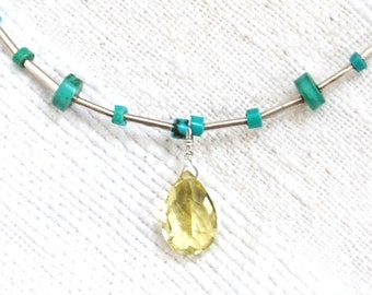 Lemon Quartz Briolette Pendant with Turquoise and Sterling Silver Necklace