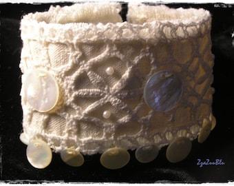 Silver Cuff Bracelet Wire Crochet Cuff Handmade Glamourous