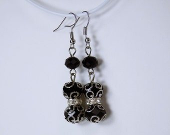 Earrings with black glass beads and Silver earrings hanging earrings black pearls glass Goth