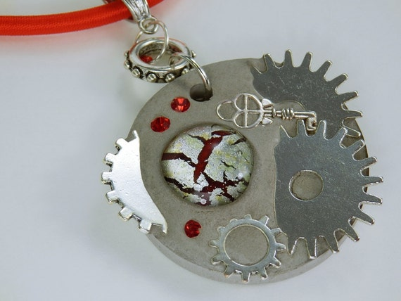 Necklace Glamour steampunk gears steampunk in red cabochon concrete jewelry on red silk ribbon key unique gear concrete Jewelry