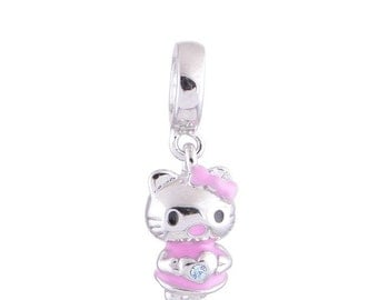 NEW 925 Sterling Silver a Cute Hello Kitty charm for European Bracelets