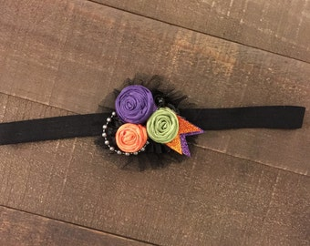 Halloween Headband-Baby Girl Headband-Headband- flower rosette headband-mini