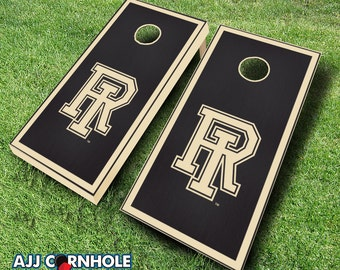 Officially Licensed Univserity of Rhode Island Ebony Stained Cornhole Set with Bags - Bean Bag Toss - Rhode Island Cornhole - Corn Toss