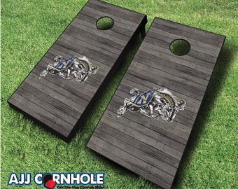 Officially Licensed US Naval Academy Distressed Cornhole Set with Bags - Bean Bag Toss - US Naval Academy Cornhole - Corn Toss - Corn hole