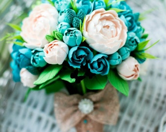 Gentle mint bridal bouquet, handmade roses and peonies look like real, alternative toss bouquet