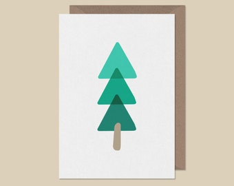Funky Christmas tree card - hand illustrated - contemporary modern nordic illustrated xmas fir tree card