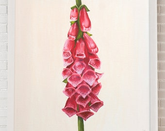 Foxglove Painting, Digitalis Painting, Flower Painting, Foxglove Oil Painting, Digitalis Oil Painting, Botanical Flower Painting
