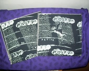 Black and White Angel Print Fabric