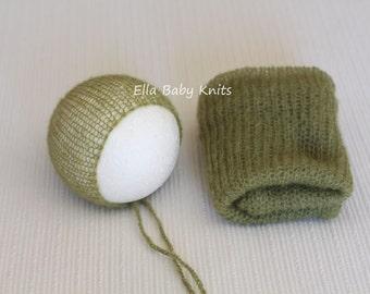 Mohair Wrap and bonnet set, Stretch Wrap, Newborn Wrap, Newborn hat, Newborn Stretch Wrap, Newborn Photo Prop