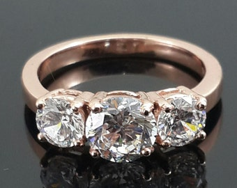 Rose gold three stone ring 9ct