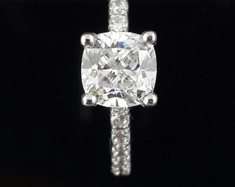 Cushion cut solitaire Ring,sterling silver,10k,14k
