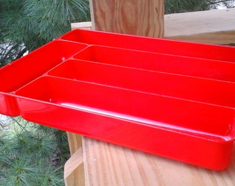 50s Red Plastic Silverware Divider, Hard Plastic Cutlery Tray