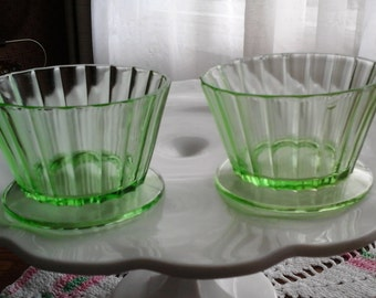 Imperfect Uranium Glass Bowls, Dainty Footed Dishes, Fluted Cups, Vaseline Glass
