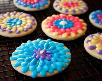 Flower Spring Summer Design Sugar Cookies - 1 Dozen!