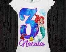 Little mermaid birthday shirt ariel birthday shirt