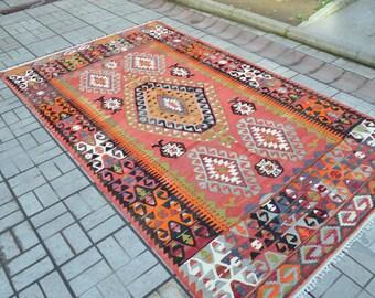 Turkish Handmade kilim. Kilim rug. Free shipping. 10.6 x 6 feet. (3.25 x 1.85 cm)