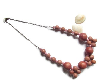 Necklace, necklace beads, wooden necklace, wood beads, pearls, pink necklace, Brown necklace, long necklace