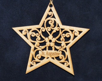 Star Ornament~Wood~Personalized FREE