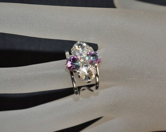 4 crimped ring, Swarovski crystal cabochon 6mm light stained glass and crystal