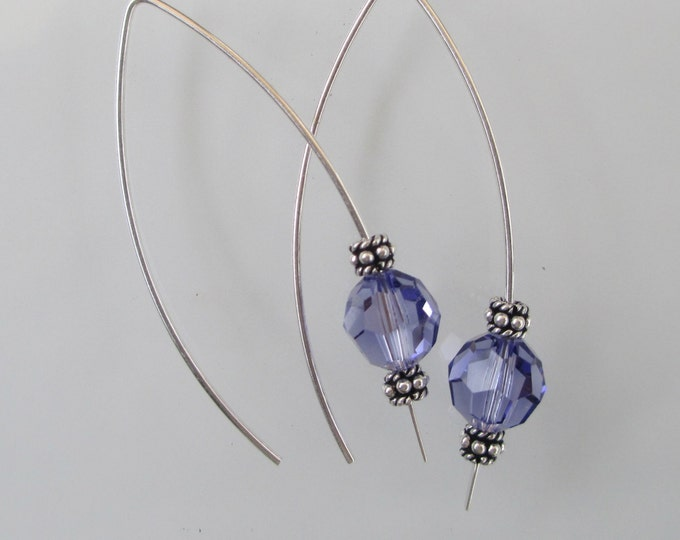 handmade sterling silver long ear wire with purple Swarovski crystal