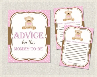 Advice for the mommy to be | Teddy Bear Baby Shower Activities Pink Brown | Advice for Parents  Girl BS-139
