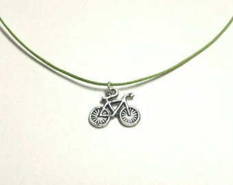 Bicycle Charm Necklace- Simple Necklace- Bike- Gift- Choose your color