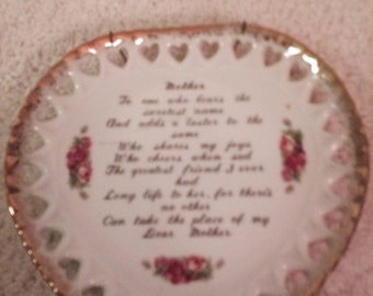 Hanging China plate with love poem for mother