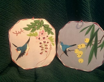 Vintage hand painted wall hangings, set of 2