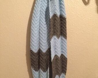 Chevron block infinity scarf