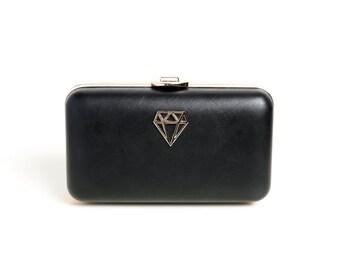 Black D-Bag |  Minaudière Minimalisme en Noir pour femmes, petit sac à main élégant