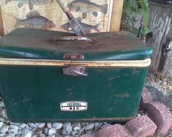 Vintage Cooler, Vintage Ice Bucket, Cooler, THERMOS Cooler, THERMOS,  Fish Camp Decor,  Man Cave Decor