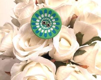 Bohemian Fabric Button Ring