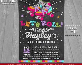 Roller Skating Invitation - Roller Skate Party Invitation - Roller Derby Chalkboard Party Invitation girl boy - Printable Digital File