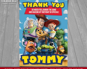 Toy Story thank you card - Disney Pixar Toy Story printable or printed Greeting Card - Toy Story Woody Buzz Lightyear Jessie Party