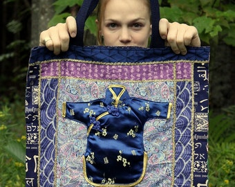 Asian Fabric ToTE BaG Patchwork Shoulder Purse ORieNTaL Appliqued Stuffed Kimono ToTe Navy Mauve Gold CLoTh ToTe Knitting Market Book Tote