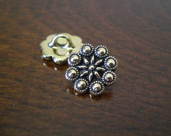 "3 - TierraCast Czech Rosette Metal Buttons with Shank 1/2"" (12mm) Antique Gold Color"