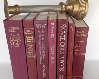 Vintage Book Stack, Vintage Books, Maroon & Plum, Set of 7, 1982 to 2004, Home Decor, Wedding Decor, Instant Library, Old Books, Book Decor
