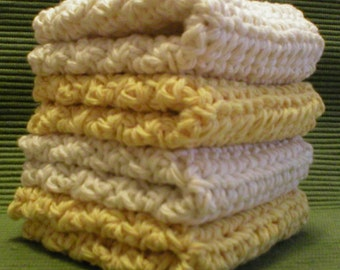 "Handmade Crochet Dishcloths Washcloths 4-Pk, 2 Yellow 2 Cream, 8"" (#5804)"