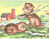 Digital Vintage Beavers Illustration Image JPG DOWNLOAD Printable Scrapbooking
