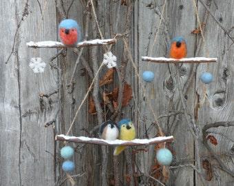 Ornaments small winter birds folk folk-Little birds winter there branch ornaments